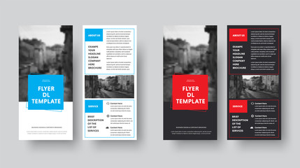 Template of black and white vector flyer DL with rectangles and space for photo