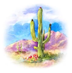 Giant succulent Carnegiea in the desert landscape