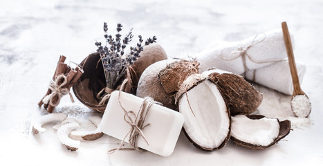 Spa still life of organic cosmetics with coconuts