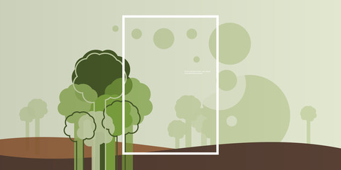 Wallpaper, Background, Landing Page or Cover Design for Your Business with Abstract Natural Landscape, Eco Theme - Creative Vector Template