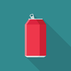Soda in aluminum can flat icon with long shadow isolated on blue background. Simple opened soda can in flat style, vector illustration.