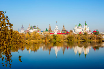 Moscow, Russia, Kremlin in Izmailovo.  It is a wooden building, stylized Russian architecture of the XVI-XVII centuries.
