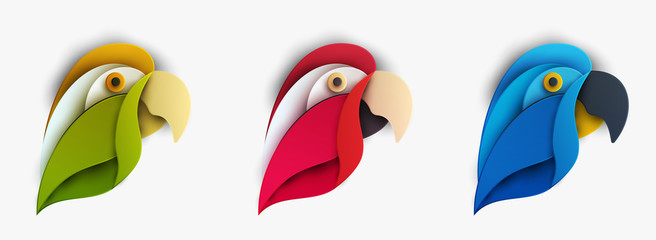 Set of colorful cartoon exotic parrot bird in trendy paper cut craft graphic style. Modern design for advertising, branding greeting card, cover, poster, banner. Vector illustration.