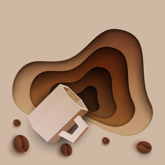 3d vector paper cut coffee composition with mug and beans. Cartoon art illustration in minimalistic craft carving style. Modern layout colorful concept for background banner, cover, poster, card.