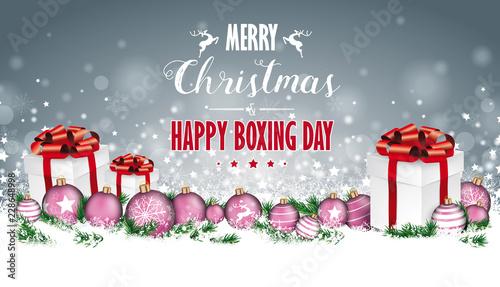 Christmas Header.Gray Christmas Header Gifts Snowflakes Pink Baubles Boxing