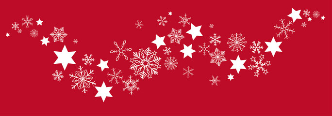 Christmas Red Gray Snowflakes Stars Flat Banner