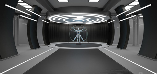 Vitruvian Man Robot Futuristic Room