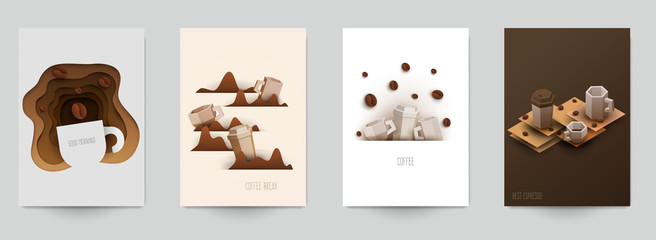 Set of coffee composition in minimalistic paper cut style. Design template for branding shop or cafe invitation, business card, menu page, banner, flyer. Vector illustration.