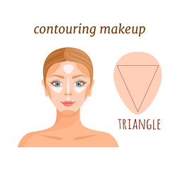 Contouring makeup for triangular female face. Vector illustration.