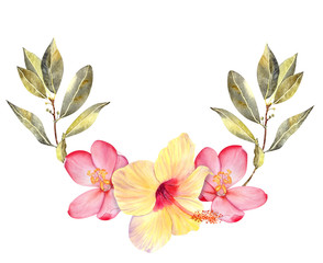 Tropical flowers watercolor wreath