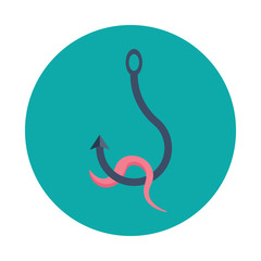 Worm on a hook flat icon isolated on blue background. Worm on a hook symbol in flat style. Fishing symbol Vector illustration for web and mobile design.