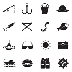 Fishing Icons. Black Flat Design. Vector Illustration.