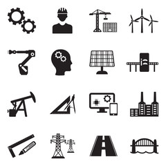 Engineering Icons. Black Flat Design. Vector Illustration.