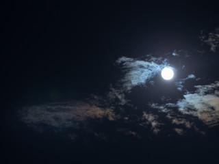 Moon and rainbow cloud