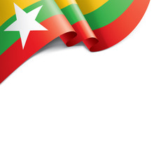 Myanmar flag, vector illustration on a white background