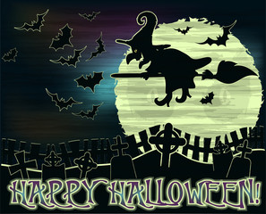Happy Halloween background with witch and cemetery , vector illustration