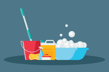 Cleaning vector illustration in modern flat style. Collection of mop, sponge, red bucket, cleaning products in bottles, brush and plastic basin with soap suds isolated on blue background. Wall mural