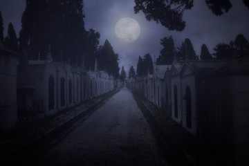 Papiers peints Cimetiere Cemetery in a full moon night
