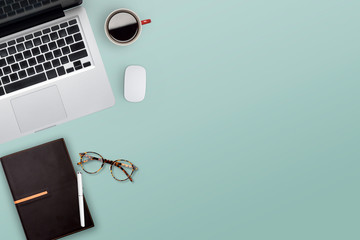 Topview of working business desktop.