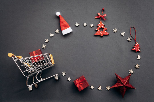 Conceptual photo of Christmas sales or gift shopping. Preparing for the New Year and Christmas. Buying gifts.