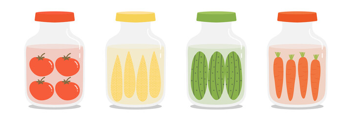 Set, collection of pickles jars with different vegetables, tomatoes, corns, cucumbers and carrots in cartoon style.