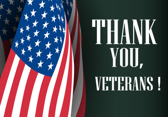 Creative poster design for veterans day with text. Thank you, veterans. November 11