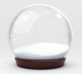 empty snowball decoration isolated on white background, glass ball winter seasonal christmas decoration 3d illustration render