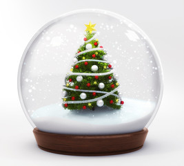 christmas tree in snowball decoration isolated on white background, glass ball winter seasonal christmas decoration 3d illustration render