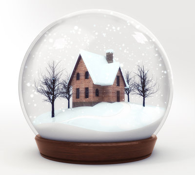 wooden house in snowball decoration isolated on white background, glass ball winter seasonal christmas decoration 3d illustration render