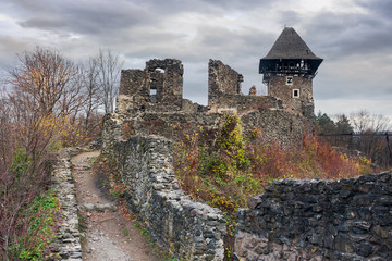 ruins of Nevytsky castle of TransCarpathia on a gloomy november day. popular tourist destination of Ukraine