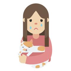 A sick cat with sad owner, vector
