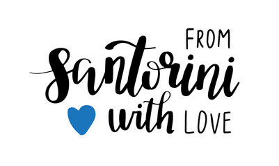Santorini hand drawn lettering phrase with blue heart