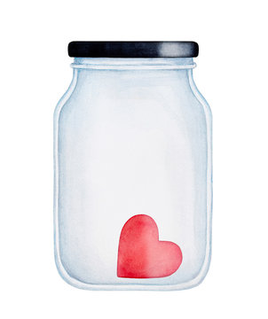 Red heart in a jar water color illustration. Blank glass surface can be used as mock up with copy space for text message. Handdrawn watercolour graphic painting on white, isolated element, front view.
