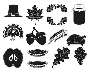 13 black white thanksgiving silhouette elements