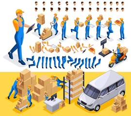 Isometric set 2 Create your character, courier, man from the delivery service. Set of gestures of hands, feet, emotions of the character, a set of different hairstyles