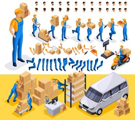 Isometric set 3 Create your character, courier, man from the delivery service. Set of gestures of hands, feet, emotions of the character, a set of different hairstyles