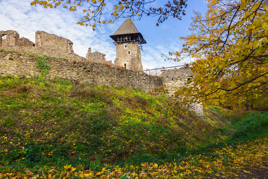 stone walls and main tower of medieval Nevytsky castle is one of the most popular travel landmark of TransCarpathia
