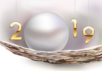 Carte de voeux 2019 chic et raffinée présentant une huitre et la beauté de sa perle de culture