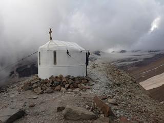 A small church high in a snowy mountains