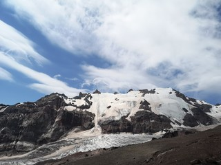 Snowy mountains and a glacier