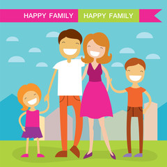 Happy family of four members parents,their son and daughter. Lovely cartoon characters on nature sunny summer day background.Vector illustration