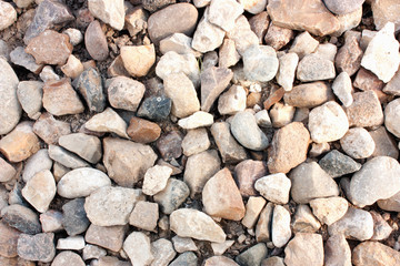 Stone texture, white light rock surface, pebble pattern, small gravel backdrop, abstract background, wallpaper, empty template