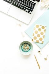 Flat lay, top view woman modern home office desk workspace on white background.