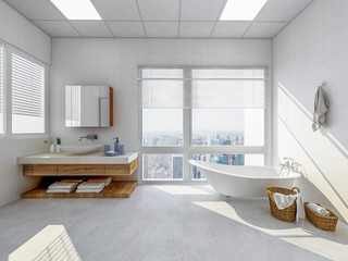 Bright bathroom with bathtub and vanity in ample space