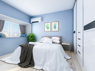 Modern bedroom with light blue walls with double bed, table, TV, wardrobe and greenery