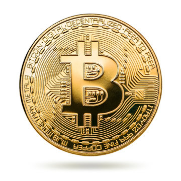 Physical bit coin. Digital currency. Cryptocurrency. Golden coin with bitcoin symbol isolated on white background. Bitcoin coin on white background.