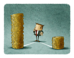 Businessman is thinking that pile of coins should choose.