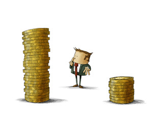 Businessman is thinking that pile of coins should choose. isolated