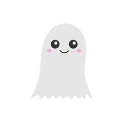 Cute hand drawn spooky ghost vector illustration. Halloween scary white spook, isolated.