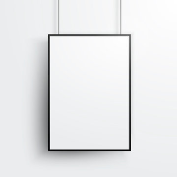 Vector White Poster With Black Frame Mockup On Grey Wall
